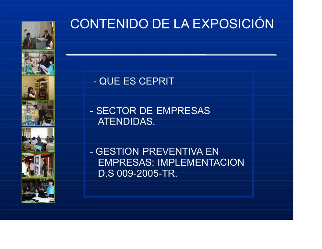 CONTENIDO DE LA EXPOSICIÓN - QUE ES CEPRIT - SECTOR DE EMPRESAS ATENDIDAS. - GESTION PREVENTIVA EN EMPRESAS: IMPLEMENTACION D.S 009-2005-TR.