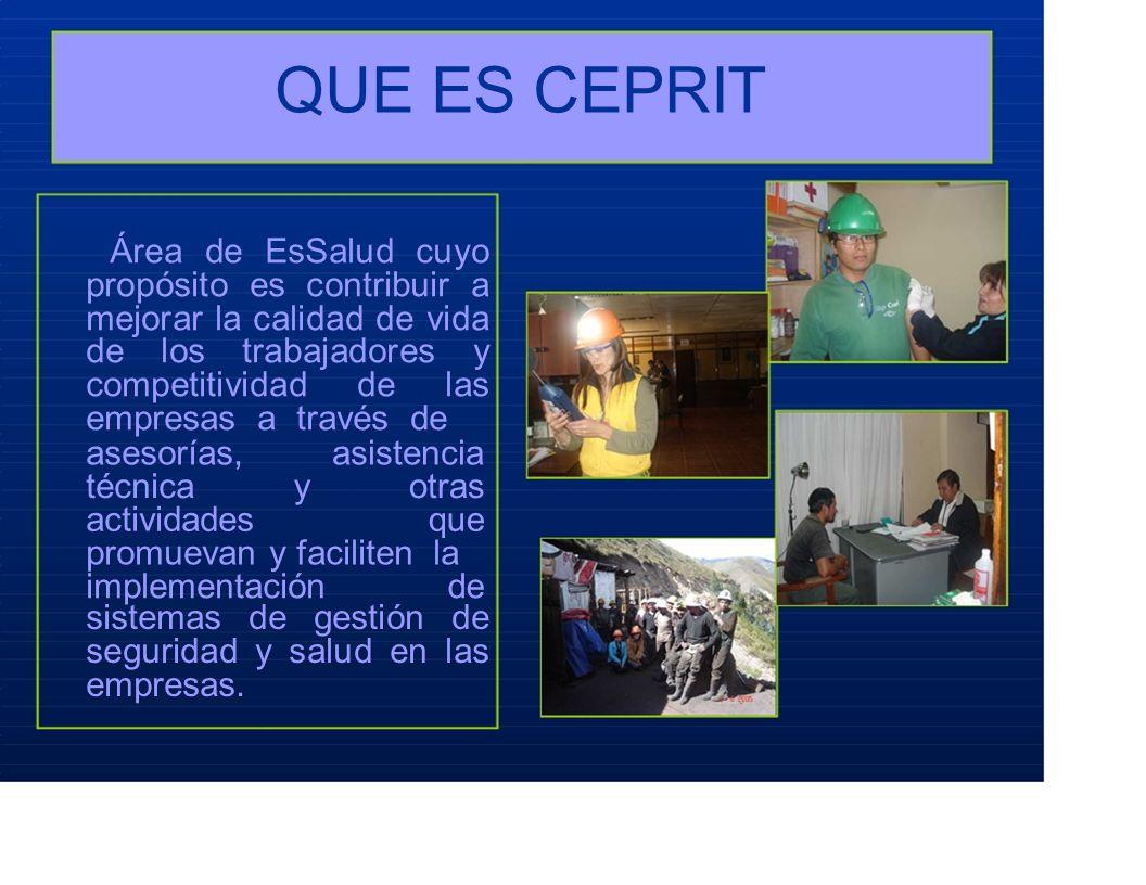 QUE ES CEPRIT Área de EsSalud cuyo propósito es contribuir a mejorar la calidad de vida de los trabajadores y competitividad de las empresas a través