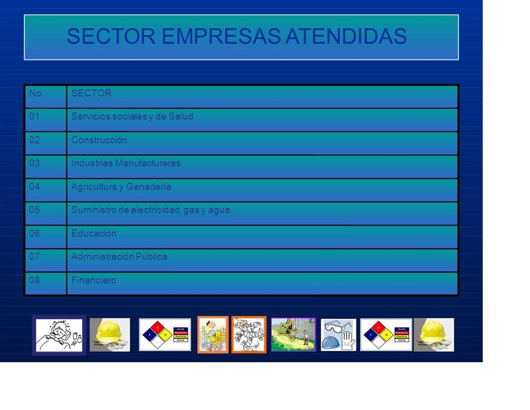 SECTOR EMPRESAS ATENDIDAS No.SECTOR 01Servicios sociales y de Salud 02Construcción 03Industrias Manufactureras 04Agricultura y Ganadería 05Suministro
