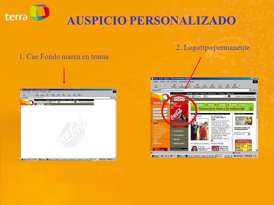 1. Cae Fondo marca en trama 2. Logotipo permanente AUSPICIO PERSONALIZADO