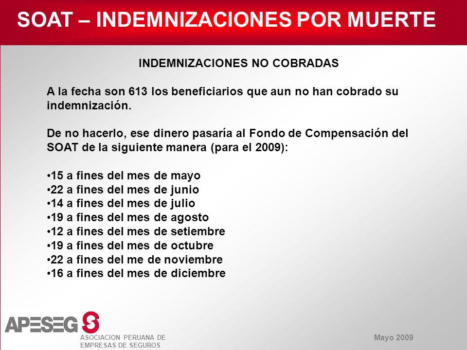 Mayo 2009 ASOCIACION PERUANA DE EMPRESAS DE SEGUROS SOAT – INDEMNIZACIONES POR MUERTE Desde el año 2002