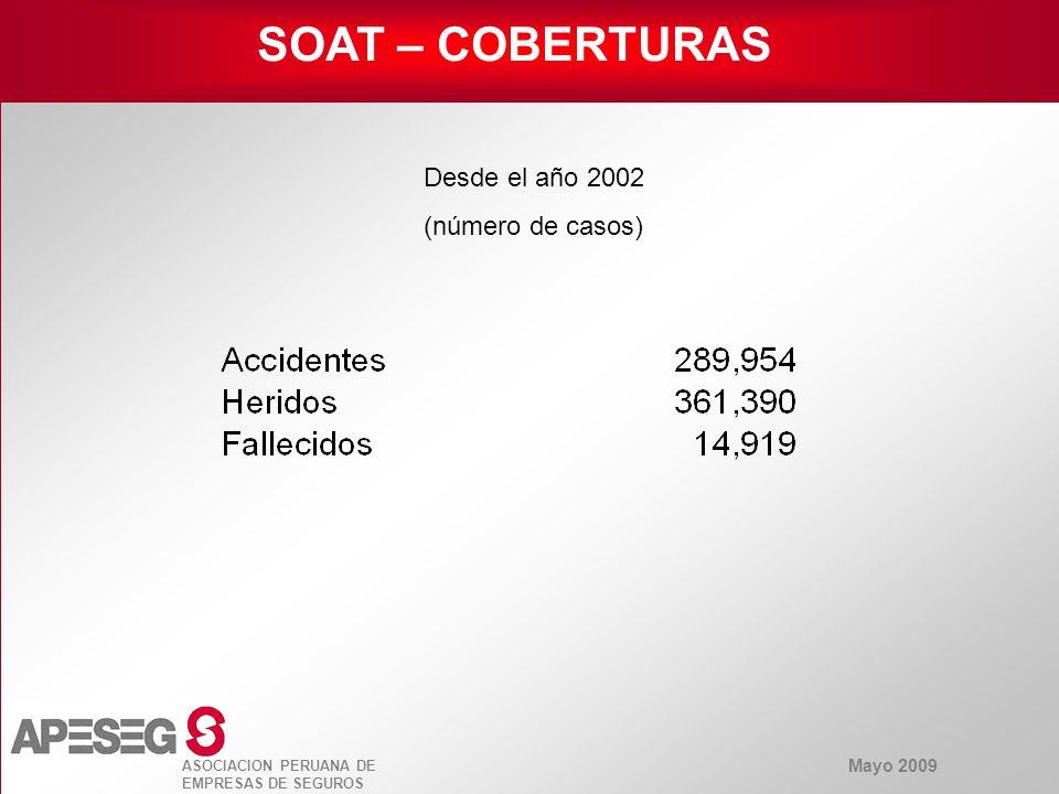 Mayo 2009 ASOCIACION PERUANA DE EMPRESAS DE SEGUROS SOAT – COBERTURAS Desde el año 2002 (número de casos)