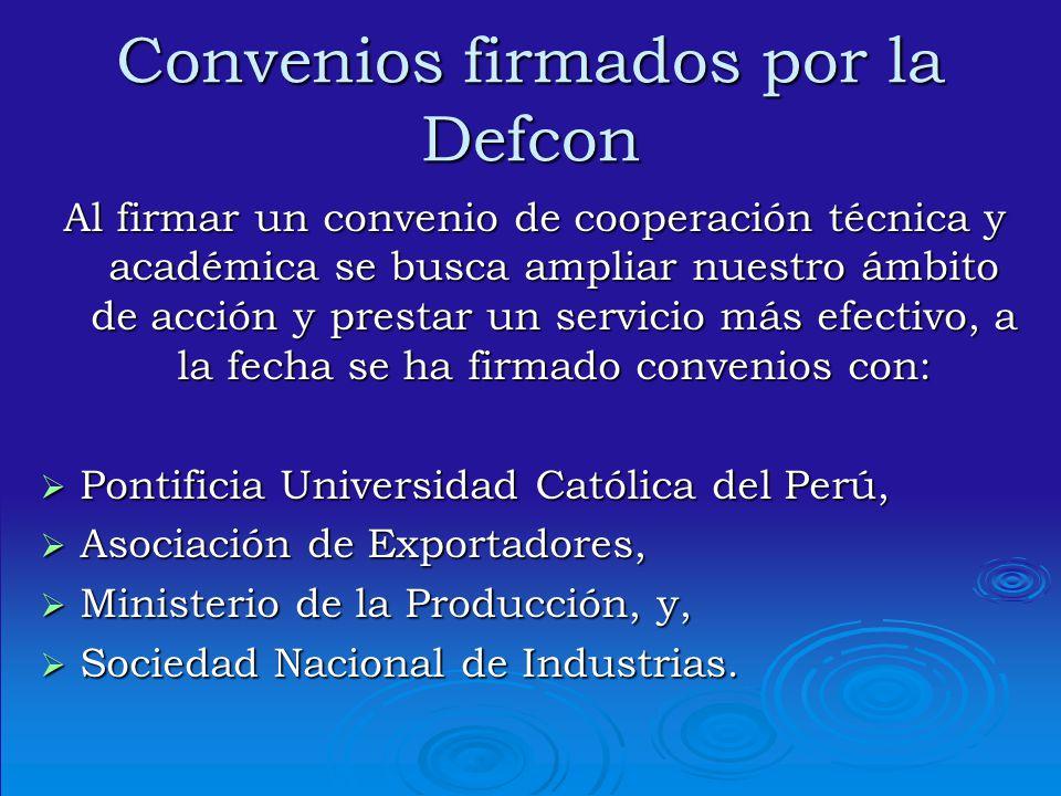 Convenios firmados por la Defcon Al firmar un convenio de cooperación técnica y académica se busca ampliar nuestro ámbito de acción y prestar un servi