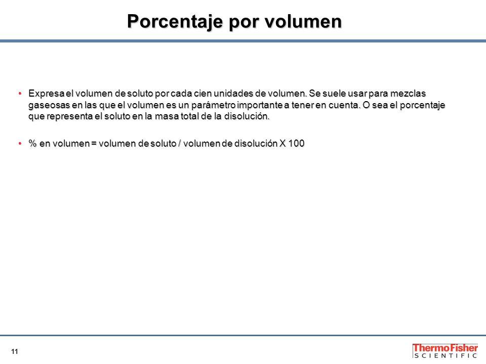 11 Porcentaje por volumen Expresa el volumen de soluto por cada cien unidades de volumen.