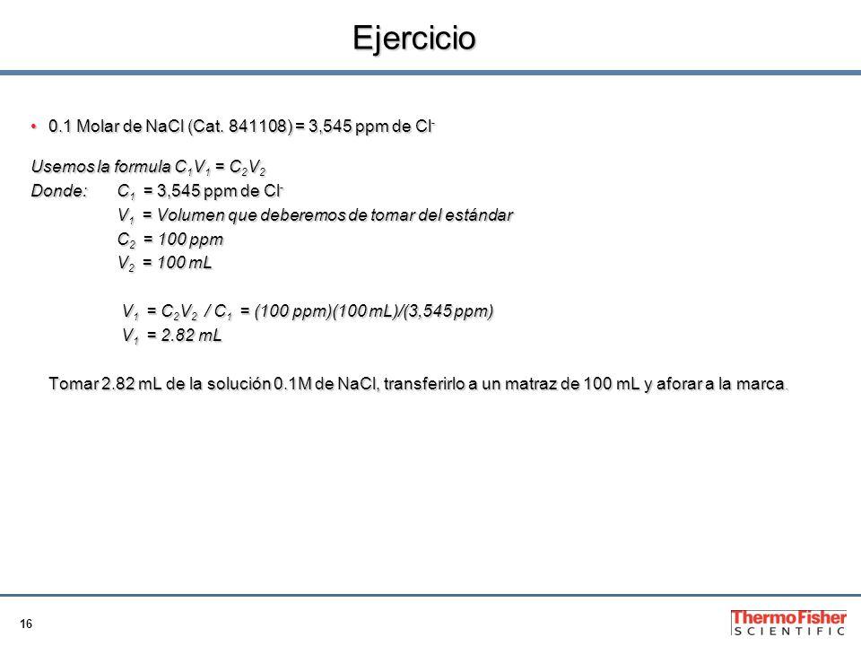 16 Ejercicio 0.1 Molar de NaCl (Cat.841108) = 3,545 ppm de Cl -0.1 Molar de NaCl (Cat.