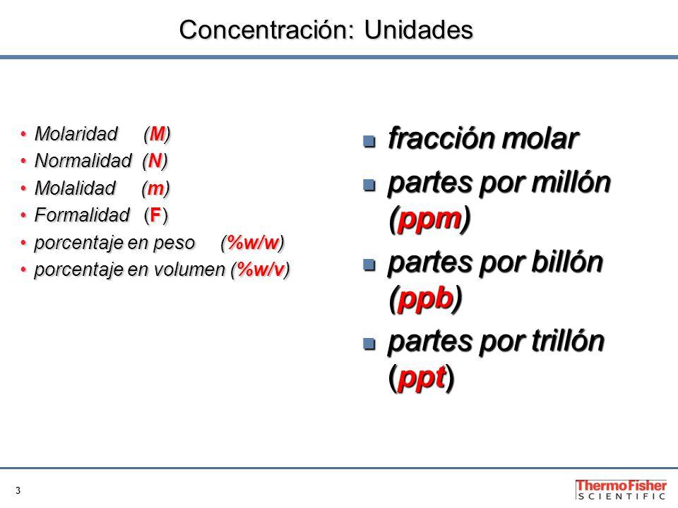 3 Concentración: Unidades Molaridad (M)Molaridad (M) Normalidad (N)Normalidad (N) Molalidad (m)Molalidad (m) Formalidad (F)Formalidad (F) porcentaje en peso (%w/w)porcentaje en peso (%w/w) porcentaje en volumen (%w/v)porcentaje en volumen (%w/v) fracción molar fracción molar partes por millón (ppm) partes por millón (ppm) partes por billón (ppb) partes por billón (ppb) partes por trillón (ppt) partes por trillón (ppt)
