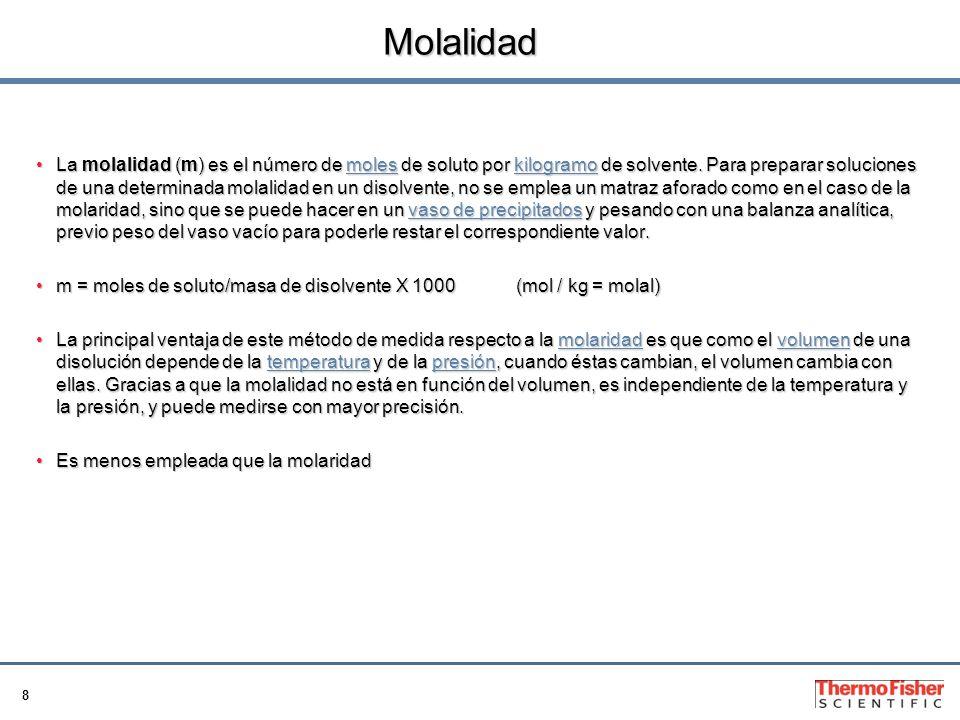 8 Molalidad La molalidad (m) es el número de moles de soluto por kilogramo de solvente.