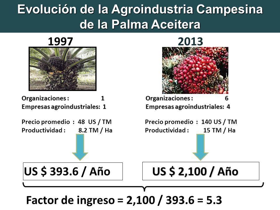 Organizaciones : 1 Empresas agroindustriales: 1 Precio promedio : 48 US / TM Productividad : 8.2 TM / Ha US $ 2,100 / Año US $ 393.6 / Año Factor de ingreso = 2,100 / 393.6 = 5.3 Organizaciones : 6 Empresas agroindustriales: 4 Precio promedio : 140 US / TM Productividad : 15 TM / Ha 2013 1997 Evolución de la Agroindustria Campesina de la Palma Aceitera