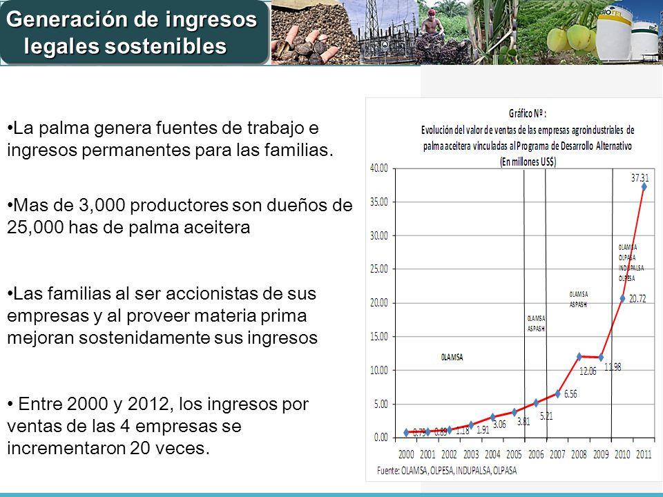 La palma genera fuentes de trabajo e ingresos permanentes para las familias. Mas de 3,000 productores son dueños de 25,000 has de palma aceitera Las f