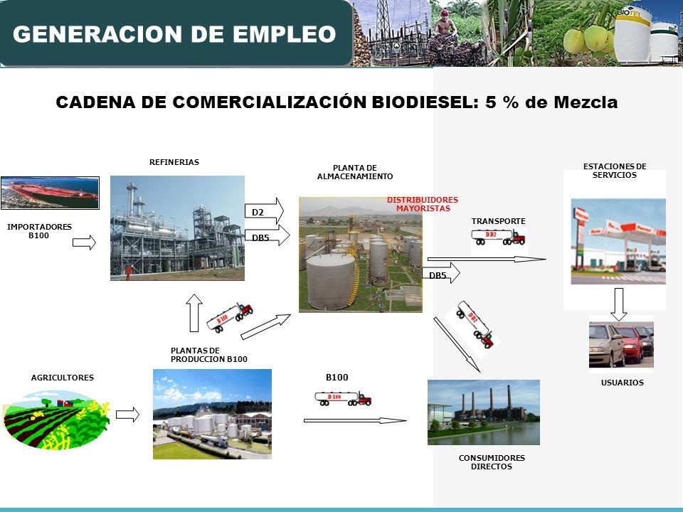 AGRICULTORES CONSUMIDORES DIRECTOS REFINERIAS IMPORTADORES B100 PLANTA DE ALMACENAMIENTO DISTRIBUIDORES MAYORISTAS ESTACIONES DE SERVICIOS USUARIOS TRANSPORTE D2 CADENA DE COMERCIALIZACIÓN BIODIESEL: 5 % de Mezcla B100 PLANTAS DE PRODUCCION B100 DB5 GENERACION DE EMPLEO