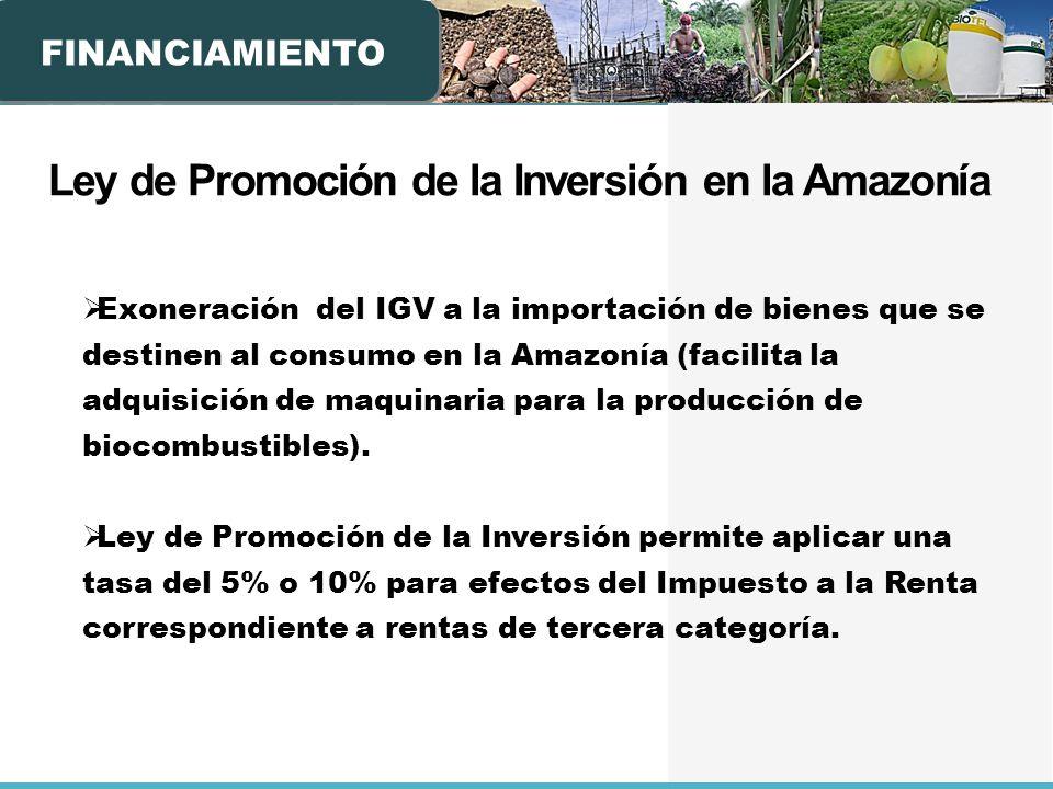 FINANCIAMIENTO Ley de Promoción de la Inversión en la Amazonía Exoneración del IGV a la importación de bienes que se destinen al consumo en la Amazonía (facilita la adquisición de maquinaria para la producción de biocombustibles).