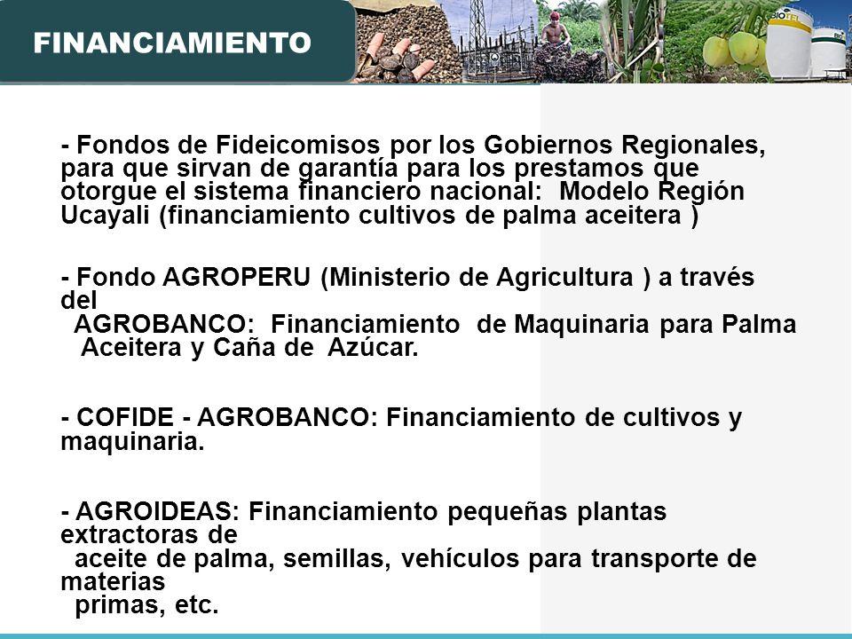 - Fondos de Fideicomisos por los Gobiernos Regionales, para que sirvan de garantía para los prestamos que otorgue el sistema financiero nacional: Mode