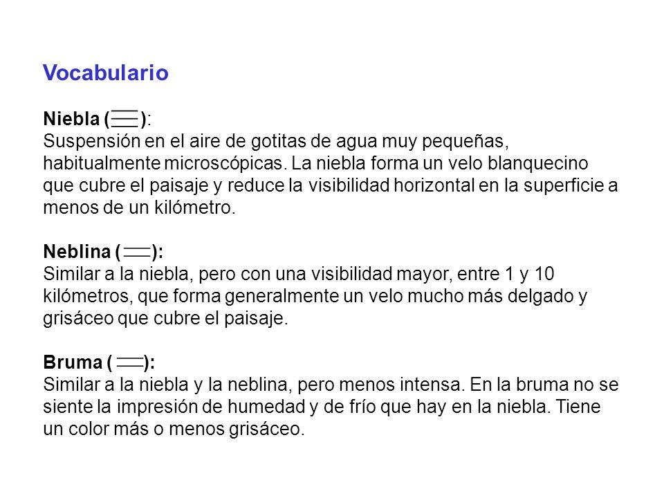 Vocabulario Niebla ( ): Suspensión en el aire de gotitas de agua muy pequeñas, habitualmente microscópicas. La niebla forma un velo blanquecino que cu