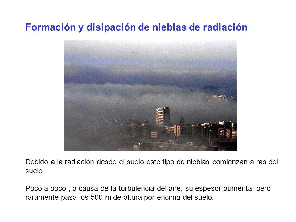 Formación y disipación de nieblas de radiación Debido a la radiación desde el suelo este tipo de nieblas comienzan a ras del suelo. Poco a poco, a cau