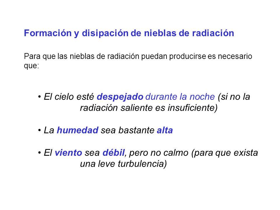 Formación y disipación de nieblas de radiación Para que las nieblas de radiación puedan producirse es necesario que: El cielo esté despejado durante l