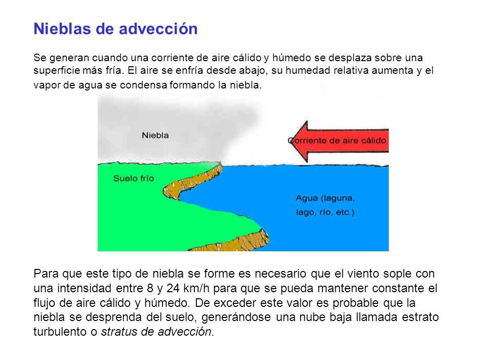Nieblas de advección Se generan cuando una corriente de aire cálido y húmedo se desplaza sobre una superficie más fría. El aire se enfría desde abajo,