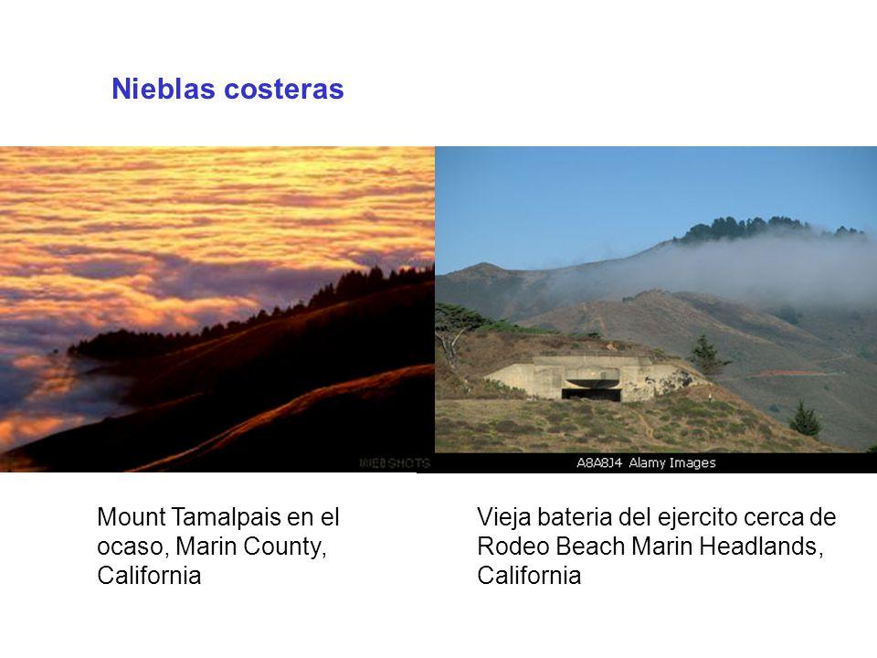 Nieblas costeras Mount Tamalpais en el ocaso, Marin County, California Vieja bateria del ejercito cerca de Rodeo Beach Marin Headlands, California