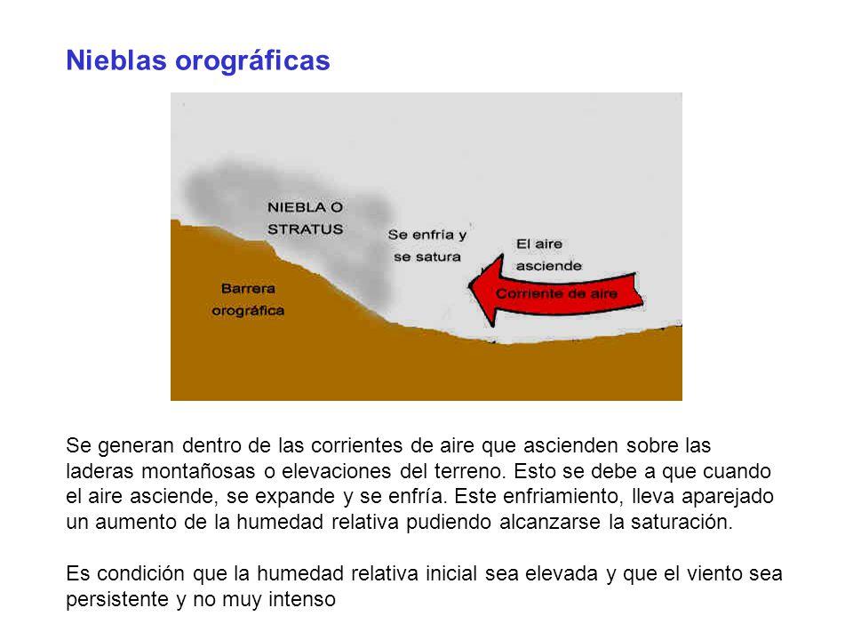 Nieblas orográficas Se generan dentro de las corrientes de aire que ascienden sobre las laderas montañosas o elevaciones del terreno. Esto se debe a q