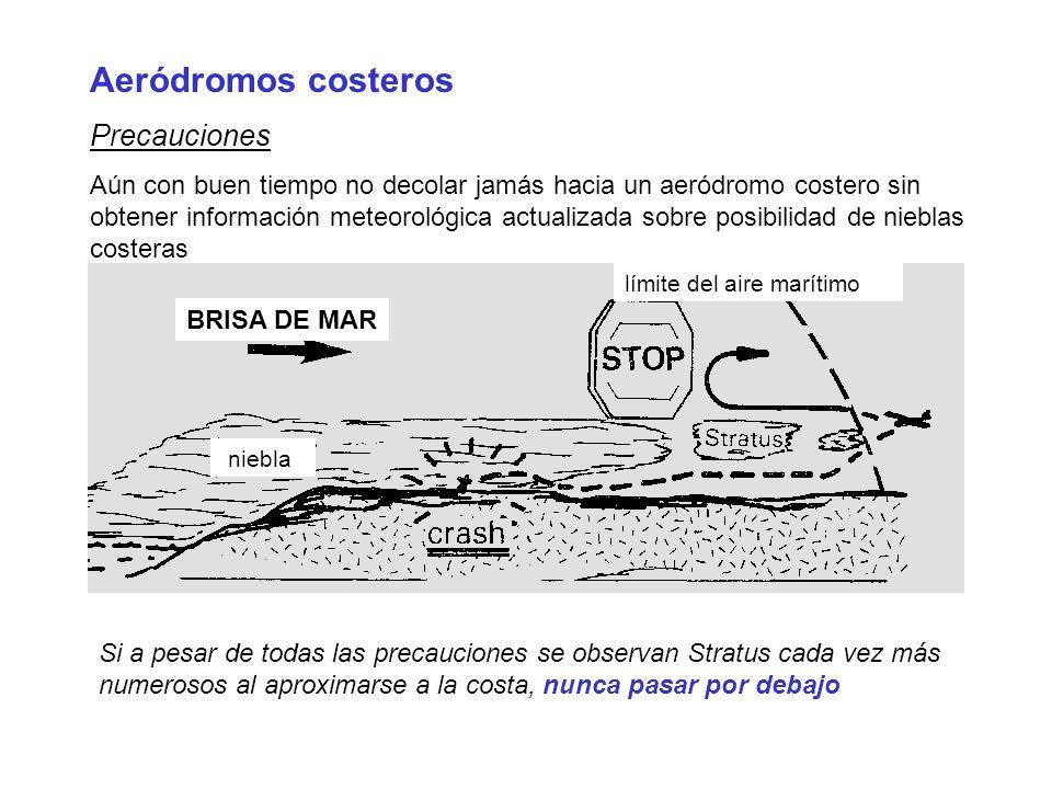 Aeródromos costeros Precauciones Aún con buen tiempo no decolar jamás hacia un aeródromo costero sin obtener información meteorológica actualizada sob