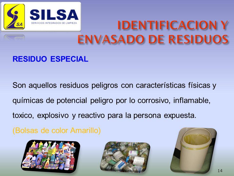 RESIDUO ESPECIAL Son aquellos residuos peligros con características físicas y químicas de potencial peligro por lo corrosivo, inflamable, toxico, explosivo y reactivo para la persona expuesta.