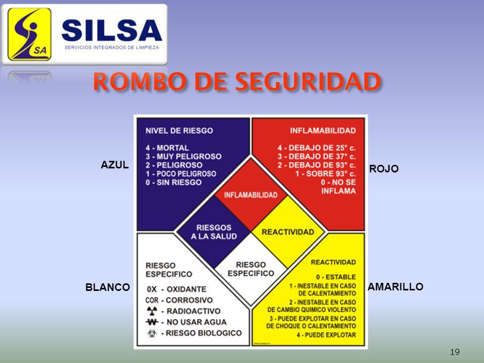 ROMBO DE SEGURIDAD AZUL ROJO BLANCO AMARILLO 19