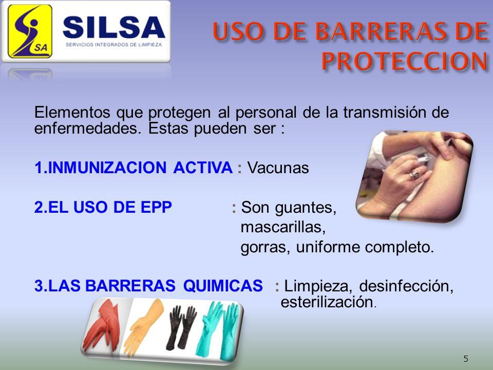 Elementos que protegen al personal de la transmisión de enfermedades.