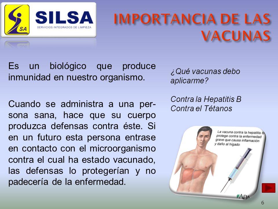 Es un biológico que produce inmunidad en nuestro organismo.
