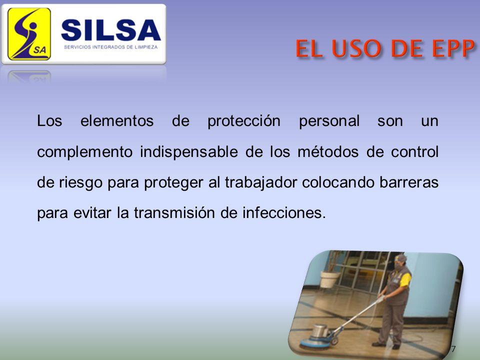 Los elementos de protección personal son un complemento indispensable de los métodos de control de riesgo para proteger al trabajador colocando barreras para evitar la transmisión de infecciones.