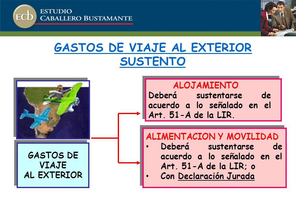 GASTOS DE VIAJE AL EXTERIOR SUSTENTO GASTOS DE VIAJE AL EXTERIOR GASTOS DE VIAJE AL EXTERIOR ALOJAMIENTO Deberá sustentarse de acuerdo a lo señalado en el Art.