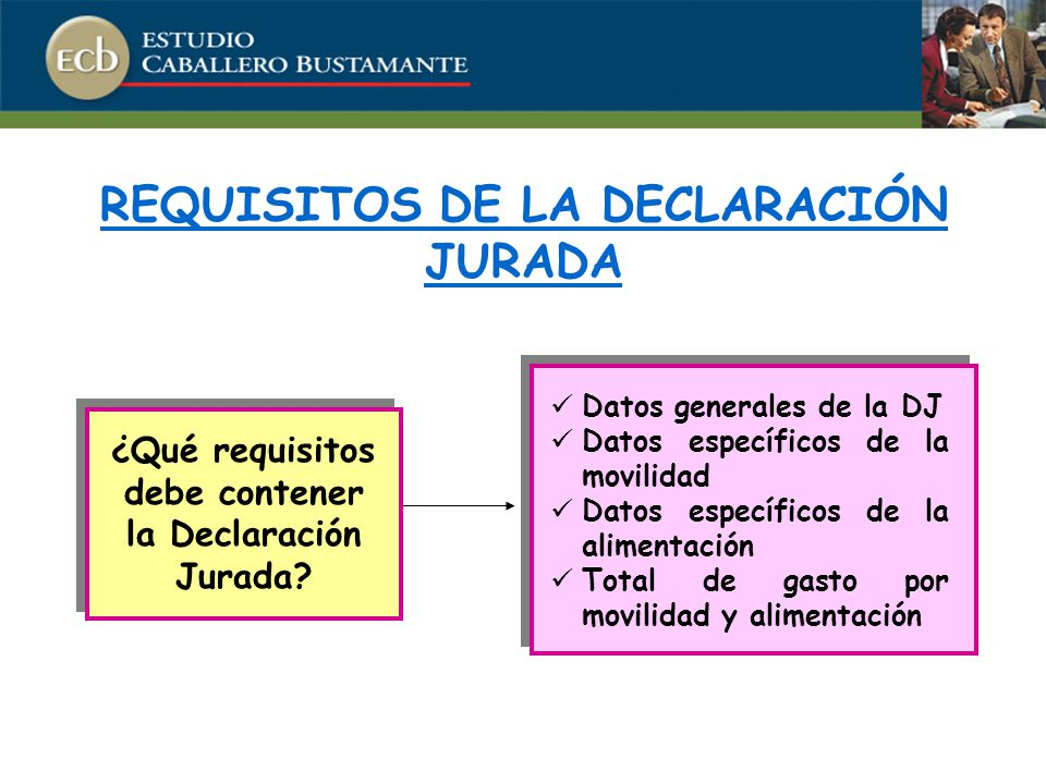REQUISITOS DE LA DECLARACIÓN JURADA Datos generales de la DJ Datos específicos de la movilidad Datos específicos de la alimentación Total de gasto por movilidad y alimentación ¿Qué requisitos debe contener la Declaración Jurada?