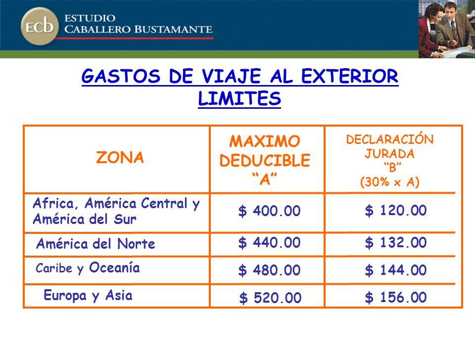 ZONA MAXIMO DEDUCIBLE A DECLARACIÓN JURADA B (30% x A) Africa, América Central y América del Sur América del Norte Caribe y Oceanía Europa y Asia $ 400.00 $ 440.00 $ 480.00 $ 520.00 $ 120.00 $ 132.00 $ 144.00 $ 156.00 GASTOS DE VIAJE AL EXTERIOR LIMITES