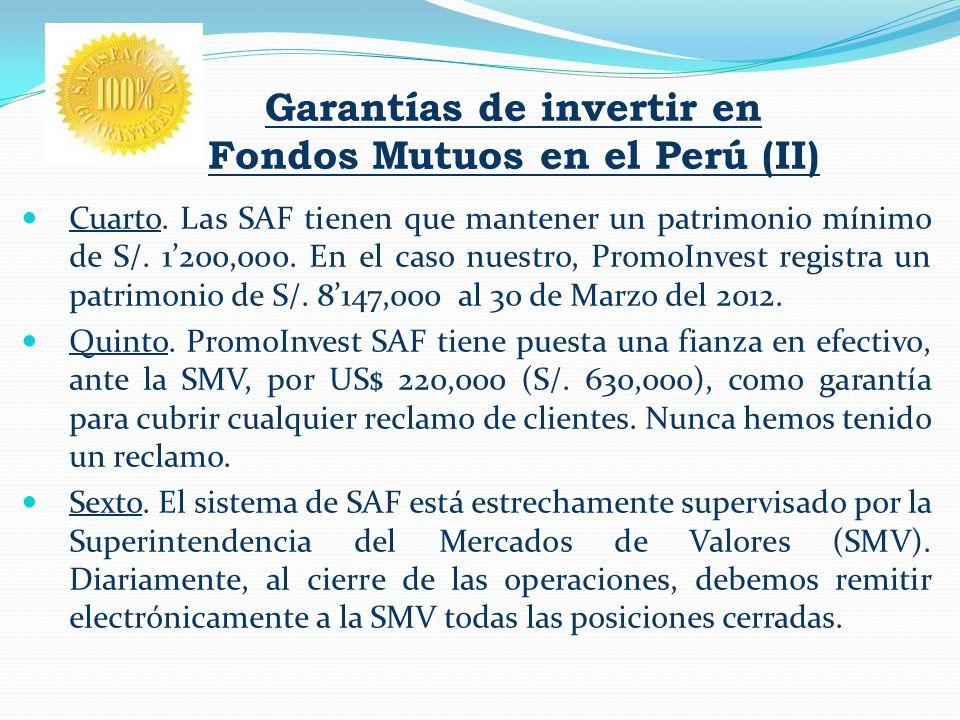 Garantías de invertir en Fondos Mutuos en el Perú (II) Cuarto. Las SAF tienen que mantener un patrimonio mínimo de S/. 1200,000. En el caso nuestro, P