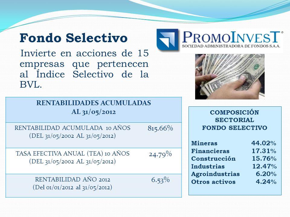 Fondo Selectivo Invierte en acciones de 15 empresas que pertenecen al Índice Selectivo de la BVL. COMPOSICIÓN SECTORIAL FONDO SELECTIVO Mineras 44.02%