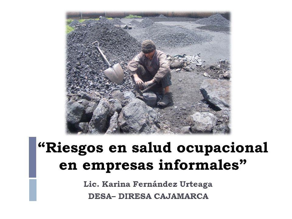 Riesgos en salud ocupacional en empresas informales Lic. Karina Fernández Urteaga DESA– DIRESA CAJAMARCA