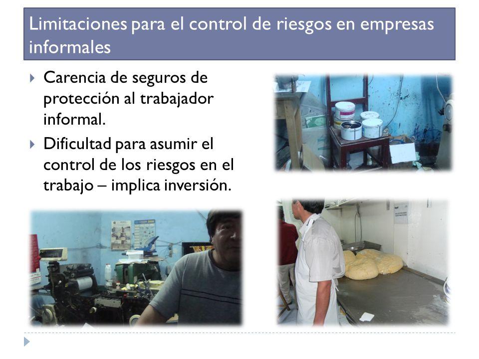 Limitaciones para el control de riesgos en empresas informales Carencia de seguros de protección al trabajador informal. Dificultad para asumir el con