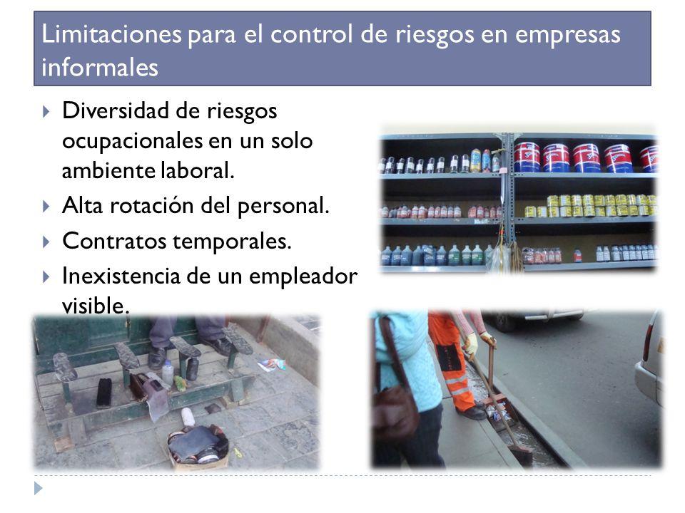 Limitaciones para el control de riesgos en empresas informales Diversidad de riesgos ocupacionales en un solo ambiente laboral. Alta rotación del pers