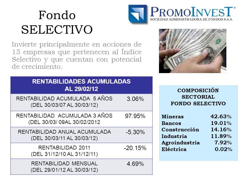 Fondo SELECTIVO Invierte principalmente en acciones de 15 empresas que pertenecen al Índice Selectivo y que cuentan con potencial de crecimiento.