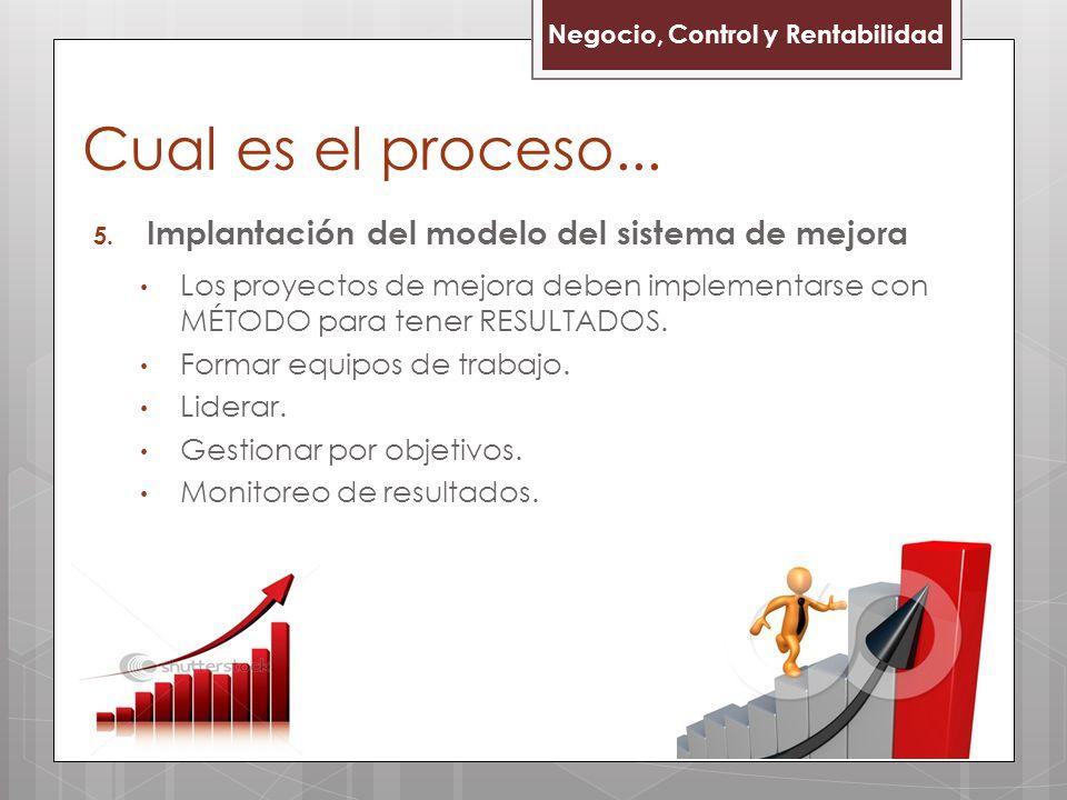 5. Implantación del modelo del sistema de mejora Los proyectos de mejora deben implementarse con MÉTODO para tener RESULTADOS. Formar equipos de traba