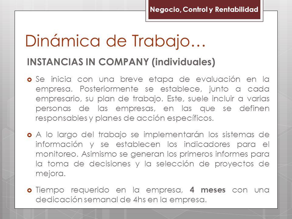 Dinámica de Trabajo… INSTANCIAS IN COMPANY (individuales) Se inicia con una breve etapa de evaluación en la empresa. Posteriormente se establece, junt