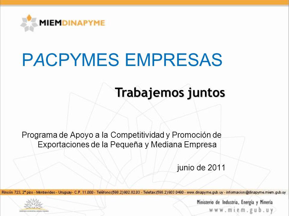 PACPYMES EMPRESAS Programa de Apoyo a la Competitividad y Promoción de Exportaciones de la Pequeña y Mediana Empresa junio de 2011 Trabajemos juntos