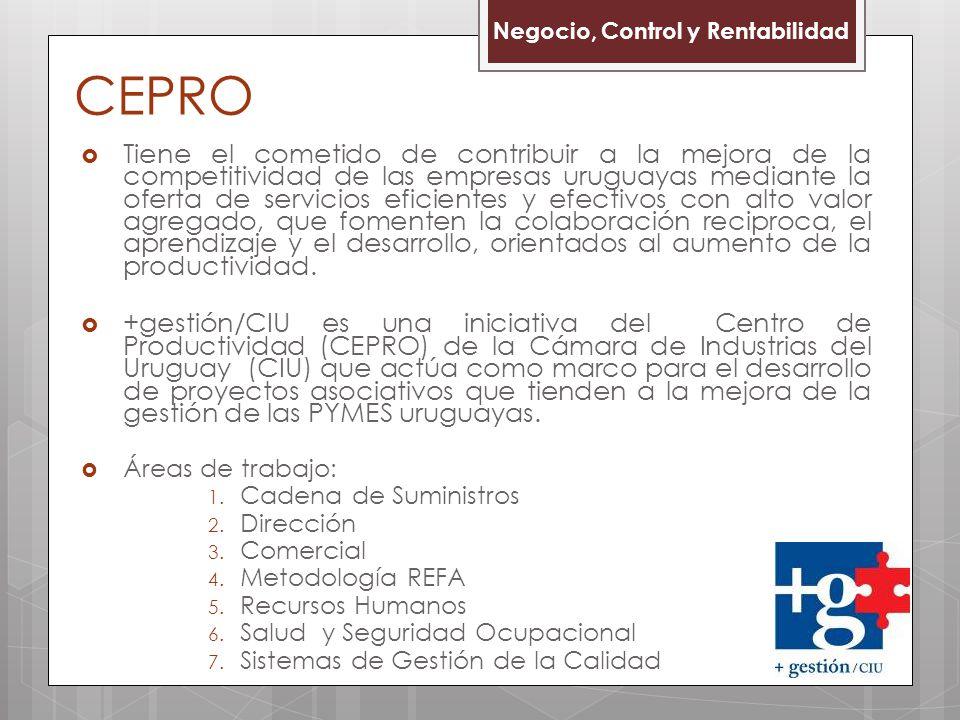 CEPRO Tiene el cometido de contribuir a la mejora de la competitividad de las empresas uruguayas mediante la oferta de servicios eficientes y efectivos con alto valor agregado, que fomenten la colaboración reciproca, el aprendizaje y el desarrollo, orientados al aumento de la productividad.