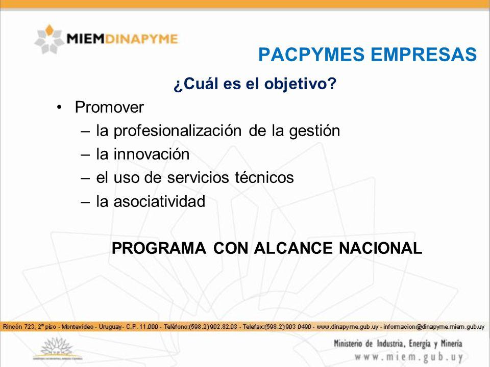 PACPYMES EMPRESAS ¿Cuál es el objetivo? Promover –la profesionalización de la gestión –la innovación –el uso de servicios técnicos –la asociatividad P
