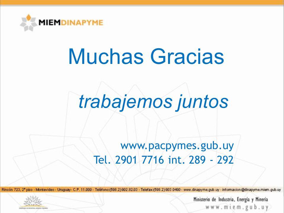 Muchas Gracias trabajemos juntos www.pacpymes.gub.uy Tel. 2901 7716 int. 289 - 292