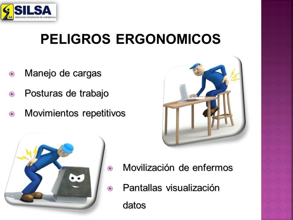 Manejo de cargas Manejo de cargas Posturas de trabajo Posturas de trabajo Movimientos repetitivos Movimientos repetitivos Movilización de enfermos Mov