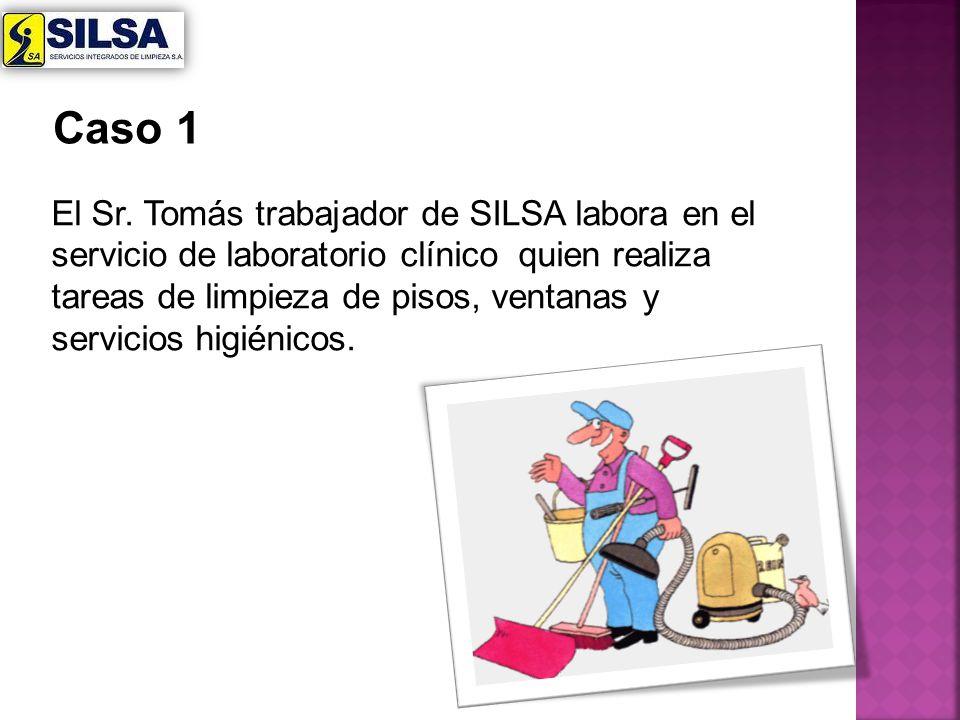 El Sr. Tomás trabajador de SILSA labora en el servicio de laboratorio clínico quien realiza tareas de limpieza de pisos, ventanas y servicios higiénic