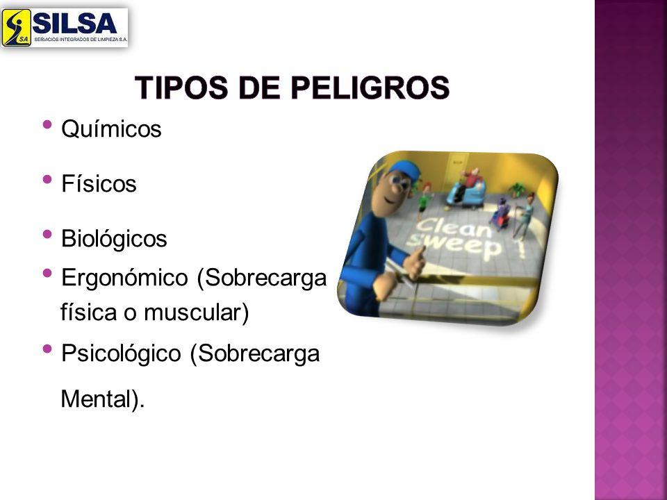 Químicos Físicos Biológicos Ergonómico (Sobrecarga física o muscular) Psicológico (Sobrecarga Mental).
