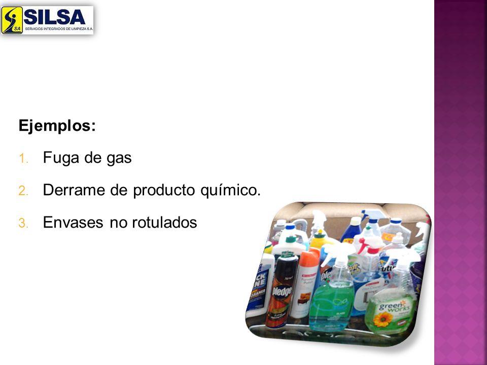 Ejemplos: 1. Fuga de gas 2. Derrame de producto químico. 3. Envases no rotulados