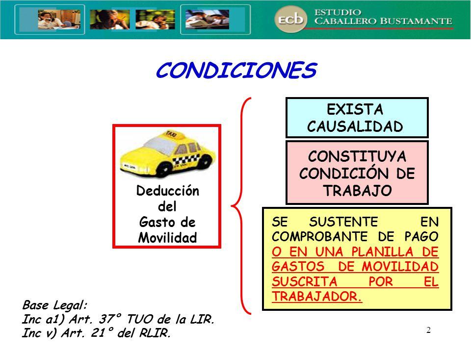 2 CONDICIONES Deducción del Gasto de Movilidad EXISTA CAUSALIDAD CONSTITUYA CONDICIÓN DE TRABAJO SE SUSTENTE EN COMPROBANTE DE PAGO O EN UNA PLANILLA