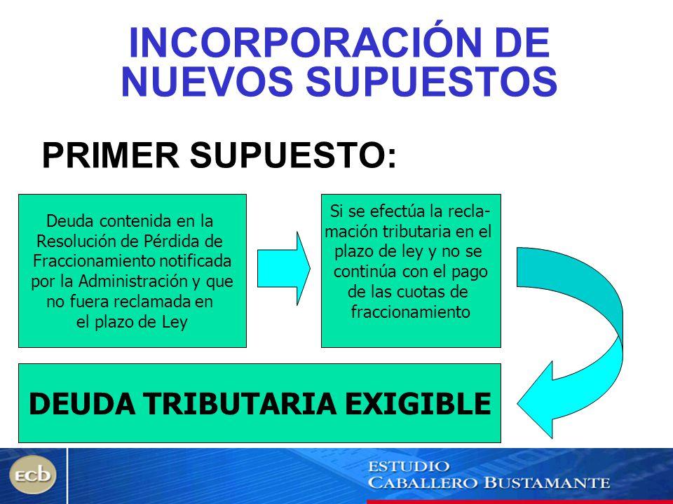 INCORPORACIÓN DE NUEVOS SUPUESTOS PRIMER SUPUESTO: Deuda contenida en la Resolución de Pérdida de Fraccionamiento notificada por la Administración y q