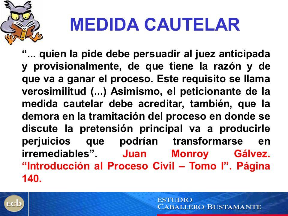 MEDIDA CAUTELAR... quien la pide debe persuadir al juez anticipada y provisionalmente, de que tiene la razón y de que va a ganar el proceso. Este requ